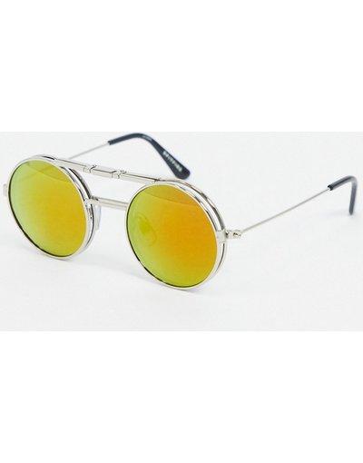 Occhiali Argento uomo Occhiali da sole argento con lenti rosse sollevabili - Spitfire - Lennon