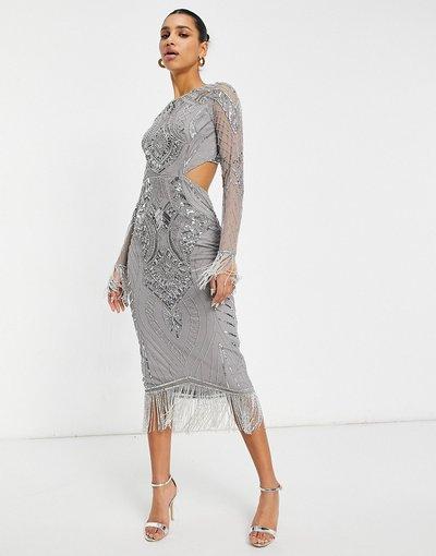 Argento donna Vestito con gonna al polpaccio argento con cut - out aperto dietro - Starlet