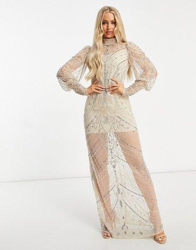 Oro donna Vestito decorato a maniche lunghe con gonna al polpaccio color champagne trasparente - Starlet - Oro
