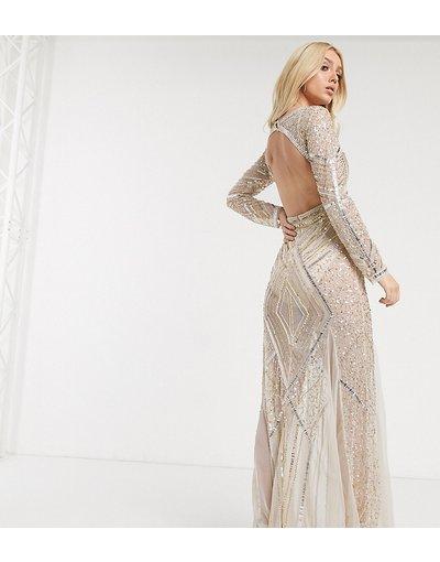 Eleganti lunghi Beige donna Vestito trasparente lungo a sirena con profondo scollo a V e decorazioni - Starlet - Beige