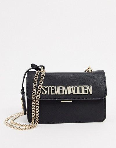 Portafoglio Nero donna Borsa a tracolla nera con logo e catena - Steve Madden - Bstakes - Nero