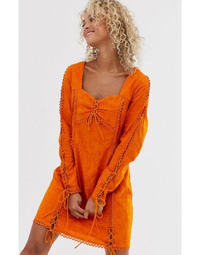 Eleganti pantaloni Arancione donna Vestito a maniche lunghe con ruches - Stevie May - Arancione - Amber
