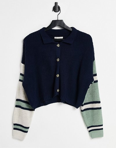 Blu navy donna Cardigan blu navy con colletto e bottoni sul davanti - Stradivarius