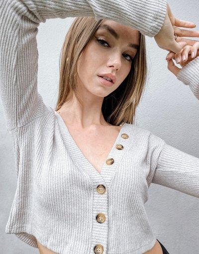 Grigio donna Cardigan in jersey grigio mélange - Stradivarius