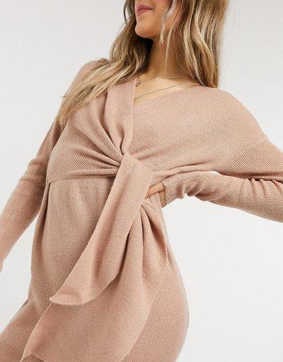Beige donna Vestito midi in maglia color cipria allacciato in vita - Style Cheat - Emilia - Beige moda abbigliamento
