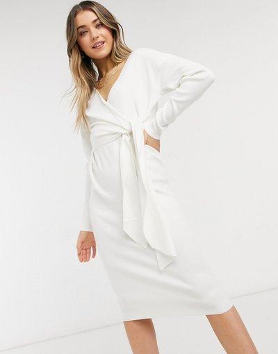 Crema donna Vestito midi a portafoglio in maglia color crema allacciato in vita - Style Cheat - Loren