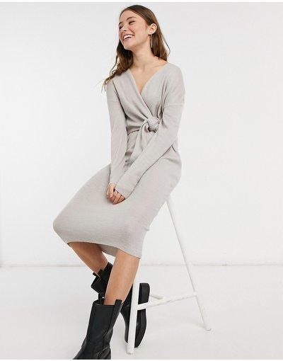 Blu donna Vestito midi a portafoglio in maglia grigio allacciato - Style Cheat - Loren - Blu moda abbigliamento