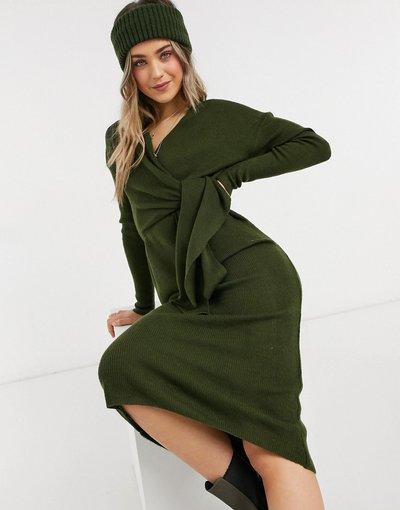 Verde donna Vestito midi avvolgente kaki con allacciatura in vita - Style Cheat - Loren - Verde