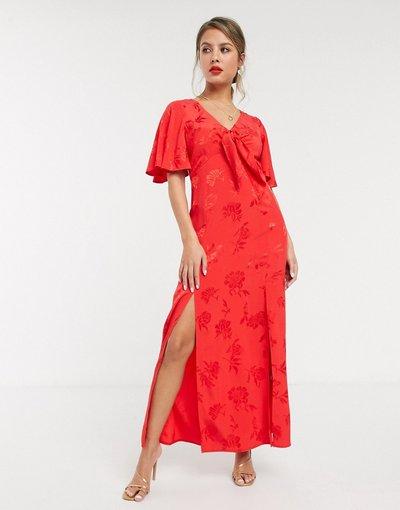 Rosa donna Vestito al ginocchio con maniche a volant e due spacchi profondi in jacquard a fiori rosso - Style Cheat - Rosa