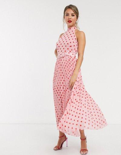 Rosa donna Vestito al polpaccio allacciato al collo a pieghe con cintura a pois rosa a contrasto - Style Cheat