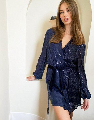Blu navy donna Vestito corto a portafoglio blu con paillettes e cintura - Style Cheat - Blu navy