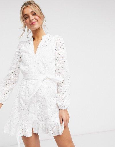 Bianco donna Vestito corto bianco con allacciatura in vita - Style Cheat