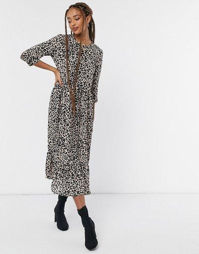 Marrone donna Vestito grembiule midi a strati a maniche lunghe con stampa animalier - Style Cheat - Marrone