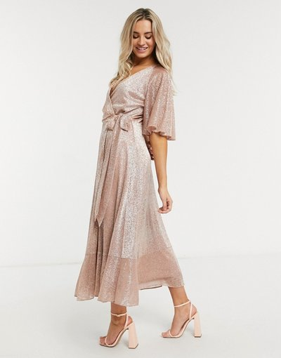 Oro donna Vestito longuette a portafoglio oro rosa brillantinato - Style Cheat