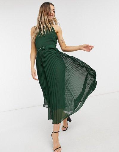 Verde donna Vestito midi accollato verde bosco a pieghe con cintura in vita - Style Cheat