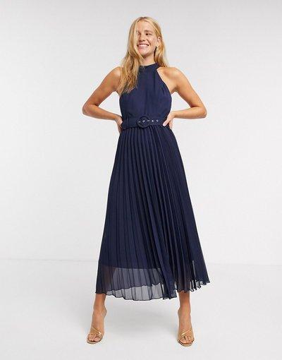 Blu donna Vestito midi blu a pieghe - Style Cheat