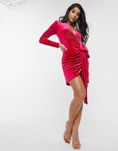 Rosa donna Vestito midi in velluto rosa con scollo profondo e volant - Style Cheat