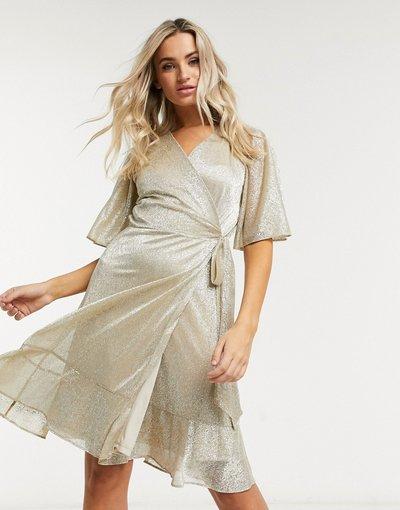 Oro donna Vestito mini avvolgente color oro brillantinato - Style Cheat