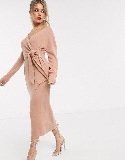 Rosa donna Vestito oversize in maglia con nodo frontale rosa - Style Cheat
