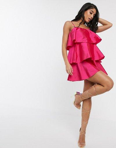 Rosa donna Vestito svasato a balze fucsia - Style Cheat - Rosa