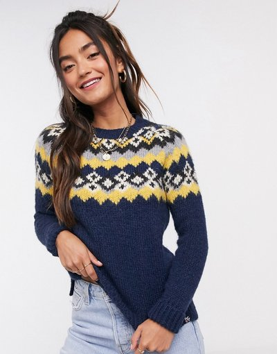 Navy donna Maglione in jacquard con carré blu navy - Savannah - Superdry