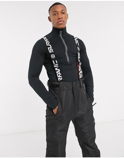 T-shirt Nero uomo Top aderente nero - Surfanic