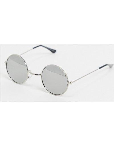 Occhiali Argento uomo Occhiali da sole rotondi argento con lenti a specchio - SVNX