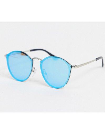 Occhiali Argento uomo Occhiali da sole rotondi argento con lenti blu - SVNX