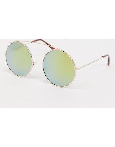 Occhiali Oro uomo Occhiali da sole rotondi color oro con barretta - SVNX