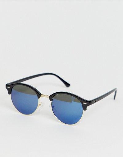 Occhiali Nero uomo Occhiali da sole tondi neri con lenti blu sfumate - SVNX - Nero
