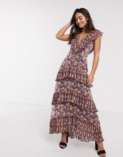 Eleganti pantaloni Multicolore donna Vestito midi a strati con stampa a fiori effetto petali - Shake It Out - Multicolore - Talulah