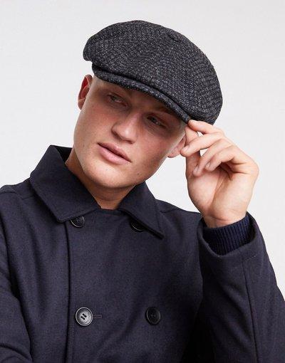 Cappello Grigio uomo Coppola in lana antracite a quadri - Ted Baker - Grigio