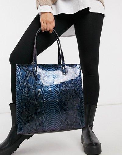 Borsa Blu donna Borsa iconica grande blu acceso con stampa olografica effetto pitonato - Ted Baker - Jemacon