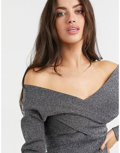 Nero donna Top a maniche lunghe in maglia grigio brillante con spalle scoperte - Ted Baker - Kyyraa - Nero