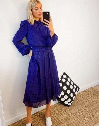 Blu donna Vestito midi a pieghe in raso, blu acceso - Ted Baker - Wilmer