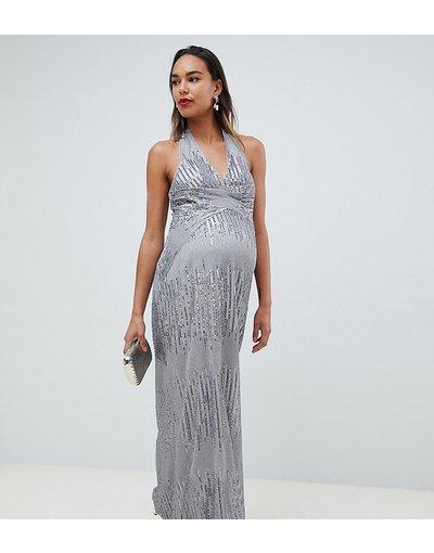 Eleganti lunghi Argento donna Vestito lungo con paillettes argento e apertura sul retro - TFNC Maternity