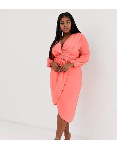Arancione donna Vestito a portafoglio a maniche lunghe annodato in vita corallo - TFNC Plus - Arancione