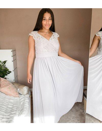 Eleganti lunghi Grigio donna Vestito lungo in pizzo con scollo profondo e retro smerlato - TFNC Plus - Grigio