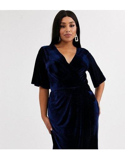 Navy donna Vestito midi a portafoglio stile kimono in velluto blu notte - TFNC Plus - Navy