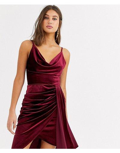 Rosso donna Vestitino in velluto con drappeggio bordeaux - TFNC Tall - Rosso
