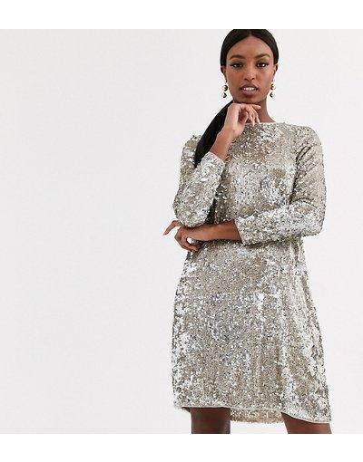 Multicolore donna Vestito corto svasato con paillettes argento e oro - Multicolore - TFNC Tall