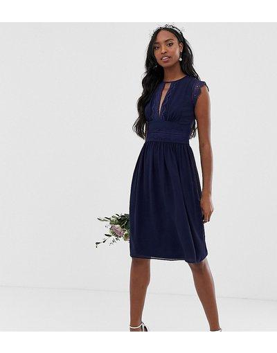 Vestito da cerimonia Navy donna Vestito da damigella midi con pizzo blu navy - TFNC Tall