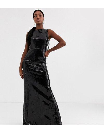Nero donna Vestito lungo con paillettes e frange sul retro nero liquido - TFNC Tall