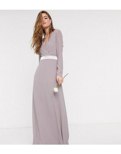 Grigio donna Vestito lungo da damigella a maniche lunghe con fiocco sul retro grigio - TFNC Tall