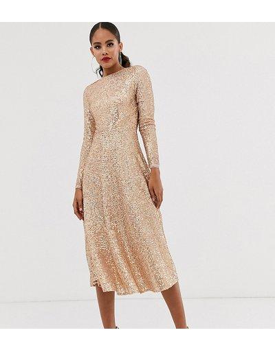 Oro donna Vestito midi svasato con paillettes oro rosa - TFNC Tall