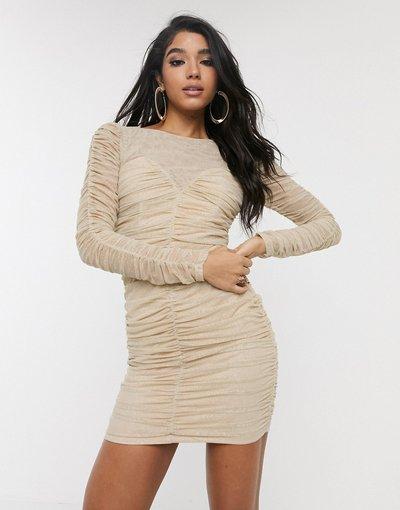 Beige donna Vestito a fascia in rete con arricciature - TFNC - Beige