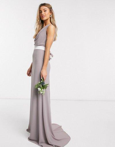Grigio donna Vestito lungo da damigella grigio con scollo ad anello e fiocco sul retro - TFNC