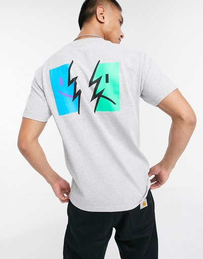 T-shirt Grigio uomo shirt grigia con stampa sul retro - The Hundreds - Symptoms - Grigio - T
