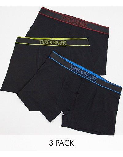 Intimo Multicolore uomo Confezione da 3 boxer aderenti neri - Threadbare - Multicolore