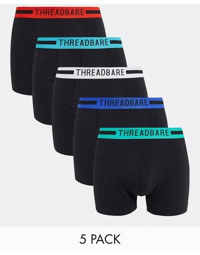 Intimo Nero uomo Confezione da cinque paia di boxer aderenti con elastico con colori vivaci, colore nero - Threadbare